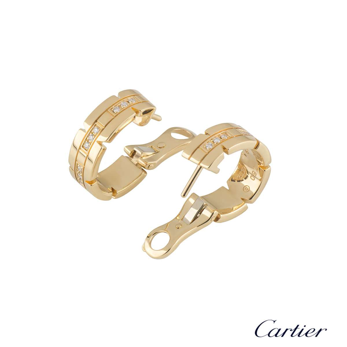 Cartier Yellow Gold Tank Francaise Diamond Earrings